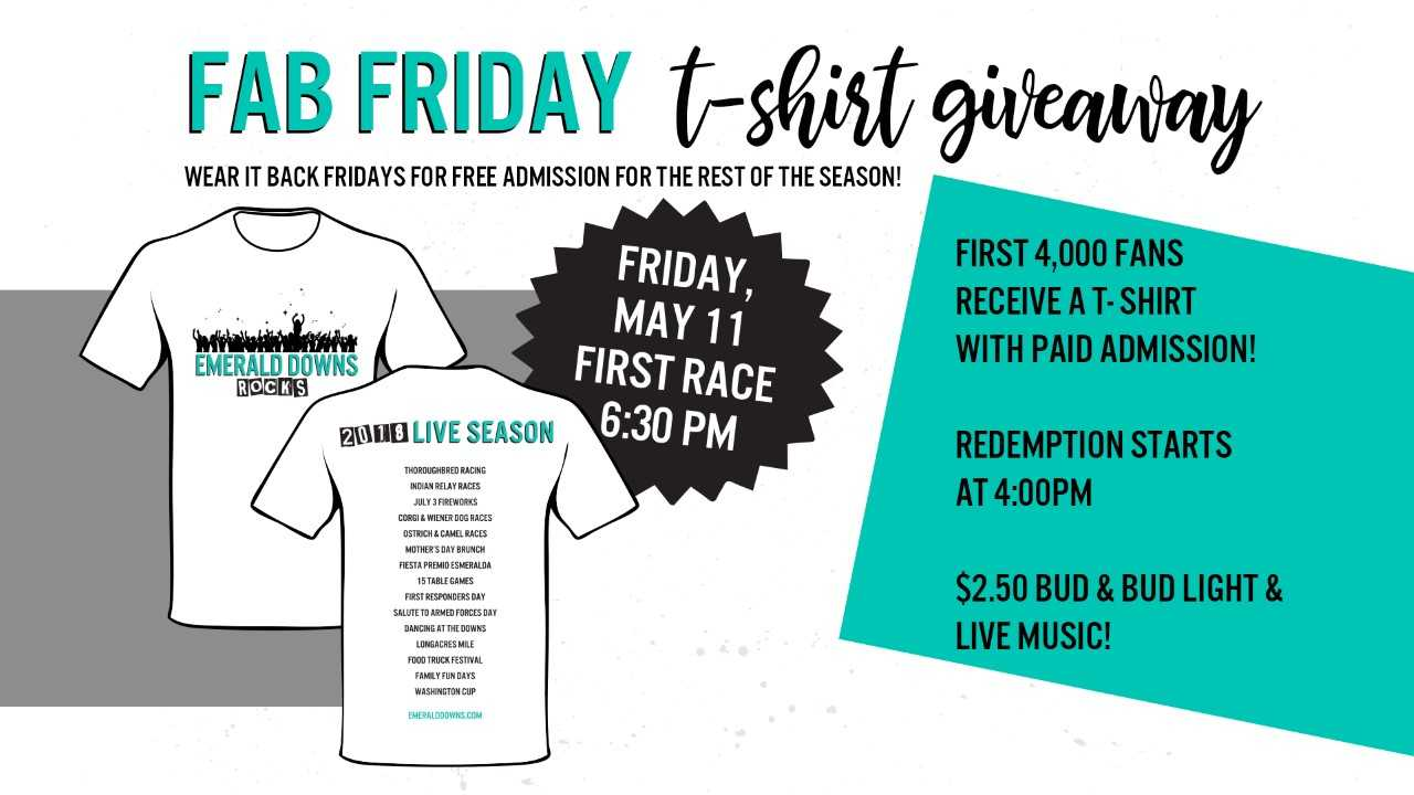 best selling get new unique design Fab Friday - Emerald Downs
