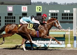Barkley (No. 6) edges Mach One Rules in the Coca-Cola Stakes